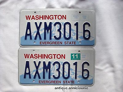 WASHINGTON Vintage License Plate PAIR # AXM3016