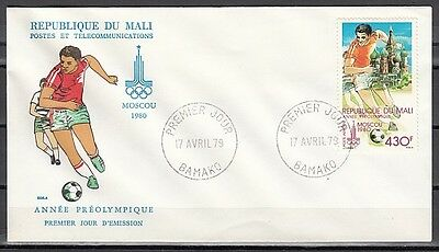 Mali, Scott cat. C363. Moscow Olympics, Soccer value. First day cover.