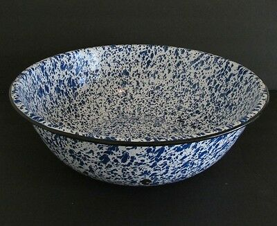 Vtg Antique Blue White Enamel Spatter Granite Ware Huge Mixing Dough Bowl