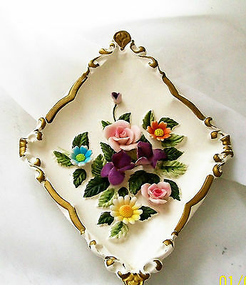 vintage wall plaque Vintage small 8 x6 wall plaque made in Japan  floral des