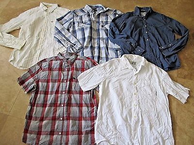 Lot, 5 mens size L,large buttoned shirts, American Eagle, Hurley, Hollister