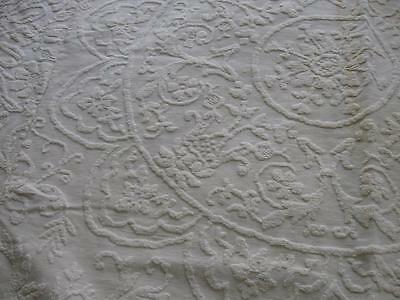 Vintage Antique Candlewick Bedspread Coverlet-3 Section-82x103-Medallion-Cotton