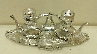 Vintage Antique Salt & Pepper Shakers silver tea pots with tray made in Japan