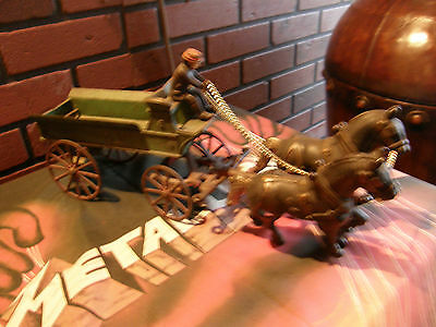 "EARLY KENTON TOYS CAST IRON 15"" Horse Drawn DRAY WAGON w Original DRIVER"
