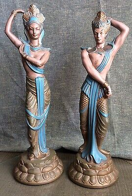 BALI Nude DANCERS Ceramic MID CENTURY Figures 1950s Art Deco SCULPTURE Asian