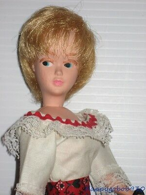 Vintage Blonde Mary Makeup Doll Dressed in Barbie Sized Hong Kong Lilli Outfit