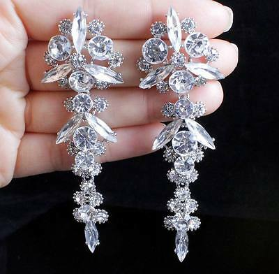 Shiny White Austrian Crystal Rhinestone Drop Chandelier Dangle Earrings E2102