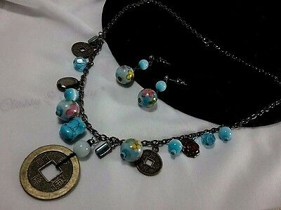 Vintage Silver Turquoise Chinese Cloisonne Painted Locket Oriental Necklace Set