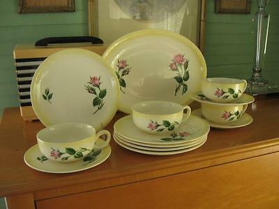 Vintage Antique PADEN CITY POTTERY-Pink Roses-Yellow Rim Dishes-Lot-PCP38-Exlnt