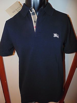 Burberry Brit men black navy short sleeve nova check placket polo shirt s,m,l,xl