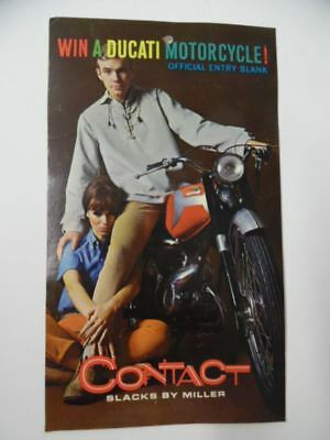 1966 Contact Slacks by Miller Ducati Motorcycle Promotion Clothing Tag Vintage
