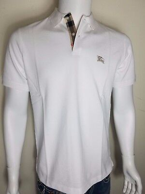 Burberry Brit men's white short sleeve nova check placket polo shirt s,m,l,xl,2x