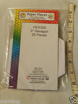 "Hexagon Paper Pieces - 3"" - 25 Pieces, for English Paper Piecing"