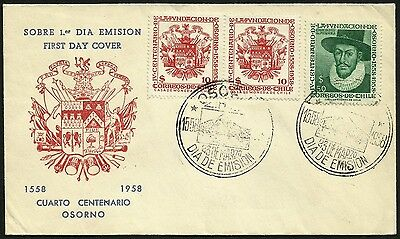 CHILE, 400th. ANNIV. CITY OF OSORNO, YEAR 1958, FDC, RARE, (GAR06)