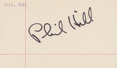 Phil Hill Formula 1 Champion Autograph Signed F1 Index Card Page