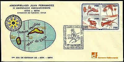 CHILE, JUAN FERNANDEZ ISLANDS, 400th. ANNIV., YEAR 1974, FDC, RARE, (GAR14)