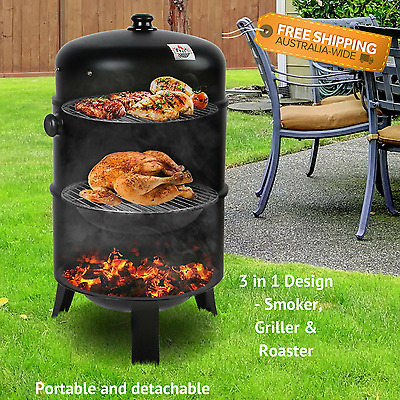 Outdoor Charcoal BBQ Roaster Smoker Griller Portable Cooking Grill Meat Flavour