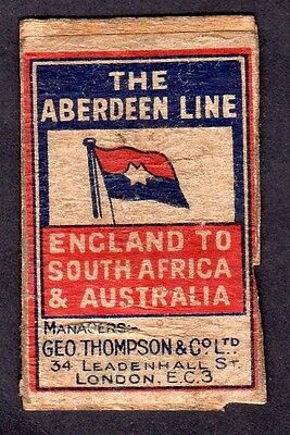 THE ABERDEEN LINE old matchbox label on wooden back rare 1920-30s?