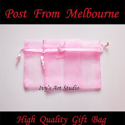 50/100 PCS Pink Organza Bags Wedding Gift Pouch Bag Jewelry Packing SML