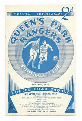 1936/37 Division 3 South - QUEENS PARK RANGERS v. SOUTHEND UNITED