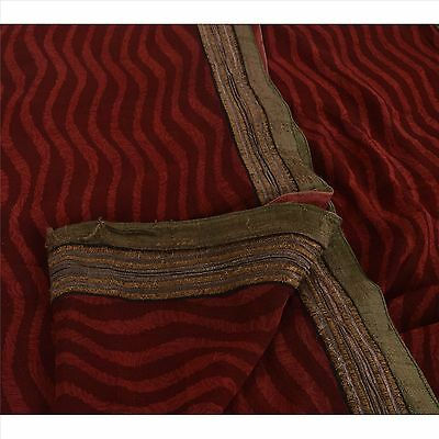 Sanskriti Vintage Indian 100% Pure Georgette Silk Saree Maroon Printed Sari