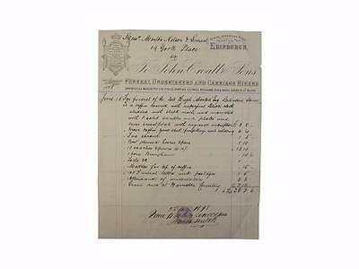 Funeralia,Undertakers Bill,Invoice,Croall and Sons,Edinburgh,1878,Funerals,Death
