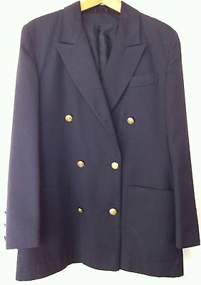 WOMEN'S Vintage 'BLAZER' by DEBENHAMS 1980's NAUTICAL Navy JACKET - SIZE 14