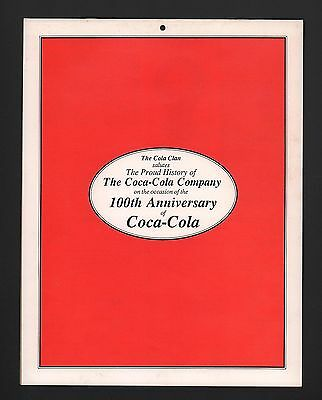 Coca Cola Coke - 1986 The Cola Clan 100th Anniversary Wall Calendar - New !!