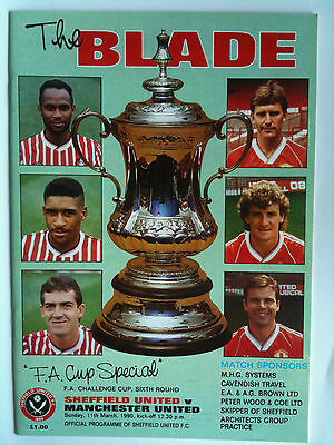 MINT 1989/90 Sheffield United v Manchester United FA Cup 6th Rd