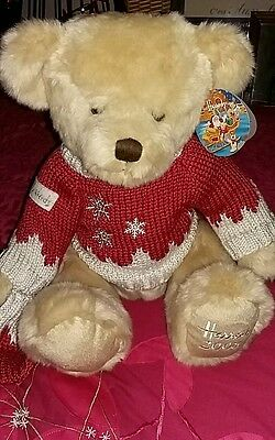 Harrods Foot Dated  2008 Large Christmas Bear – Oscar With Tag Ex Cond