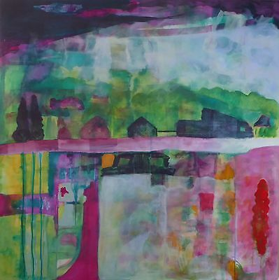 Original Large Contemporary Abstract Mixed Media Landscape Painting on Board