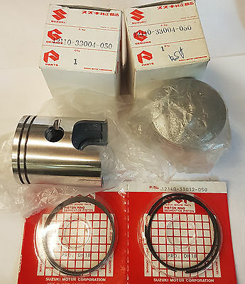 Piston & Ring set pair NOS 0.5mm o/s. Suzuki T20, T250, GT250, GT380