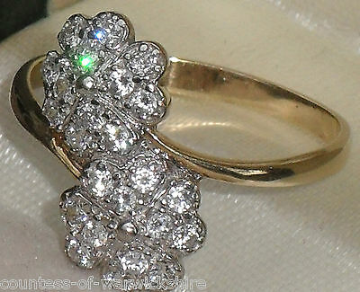 FINE ANTIQUE ART DECO STYLE PAVE BYPASS CROSSOVER 9ct GOLD DOUBLE DAISY RING