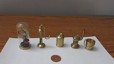 Vintage Dollhouse Miniature Small Holland Brass Stove Water Pump Bucket Milk Can