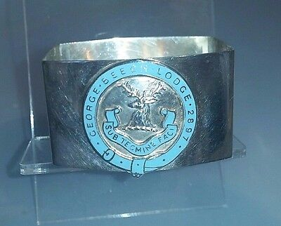 1937 Solid silver masonic enamelled silver napkin ring  George Beech lodge 2897