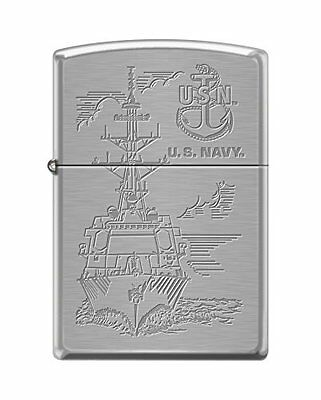 Zippo US Navy Boat and Anchor Brushed Chrome Pocket Lighter