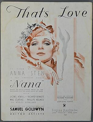 """1934 THAT'S LOVE from """"Nana"""" ANNA STEN Rodgers and Hart Sheet Music"""