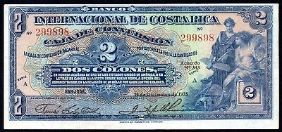 28.12.1925 Costa Rica 2 Colones P.184a * gVF * Money Bill Currency