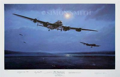 Simon Smith Avro Lancaster Dambuster 5 Crew Signed Aviation Print Lancaster