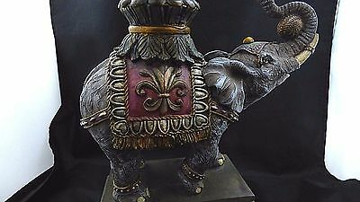 Circus Elephant Statue 2 Pillar Candle Holder Faux Pearls Crystals Fleur de Lis