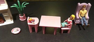 Lot Playskool 1990's Family Dollhouse Furniture People Figure Mom Dad Baby Cat