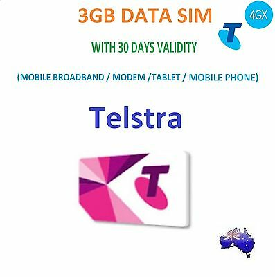 Telstra 3Gb Data Sim Card 30 Days Validity For Mobile/modem/tablet Standard Size