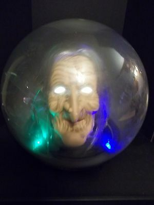 Animated Spell Casting Floating Witch Head Spirit Globe / Ball Halloween Prop