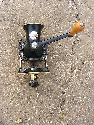 Vintage Black Spong No 1 Coffee Mill Grinder Cast Iron with Wooden Handle