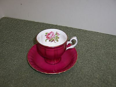 Crown Staffordshire England Pink Rose Tea Cup & Saucer Fine Bone China