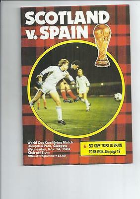 Scotland v Spain 1984 International Football Programme