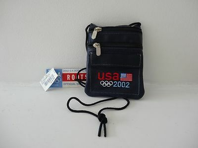 RARE NEW Olympic Roots Leather 2002 Salt Lake Team Sm Hanging Pouch Passport USA