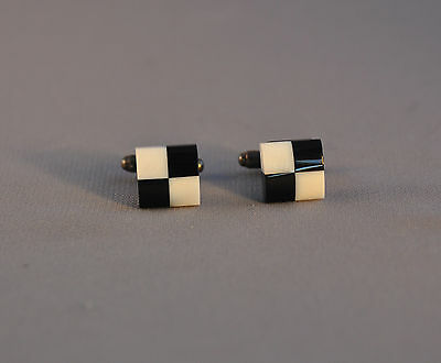 Vintage Sterling Silver Cufflinks - Square Black White Checkerboard - Onyx Shell