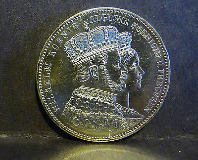 1861A German States Prussia Thaler, Coronation of Wilhelm and Augusta