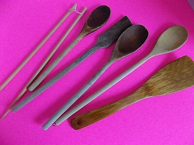 Vintage Lot of Wooden Spoons and Kitchen Tools made of Wood